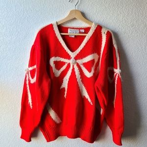 Holiday  Bow Pearl  Christmas Sweater